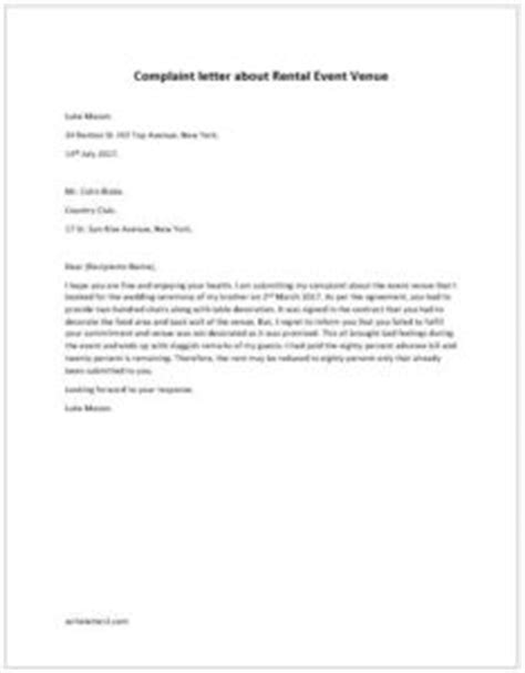 Venue Rent Letter Complaint Letter About Rental Event Venue Writeletter2