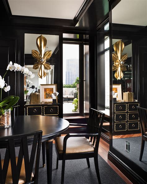 black dining room dining in black and gold interiors by color