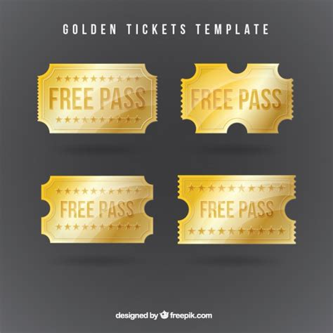 golden tickets template vector free download