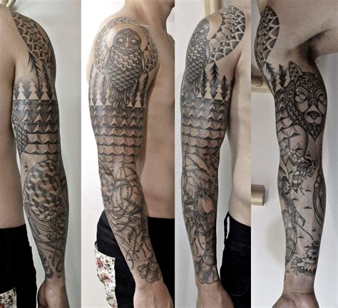 geometric tattoo new zealand geometric dot work sleeve achieved by joesus chin at