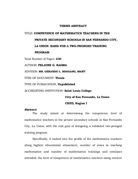 thesis abstract in mathematics feljone g ragma master s thesis