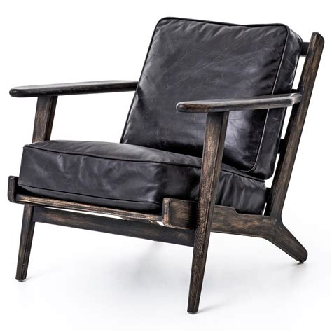 black leather armchair contemporary rider mid century modern oak black leather armchair