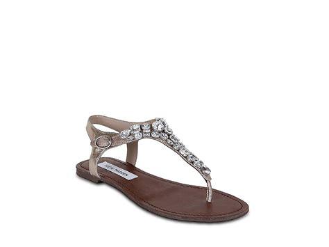 steve madden rhinestone sandals steve madden grooom flat sandals in silver rhinestone lyst