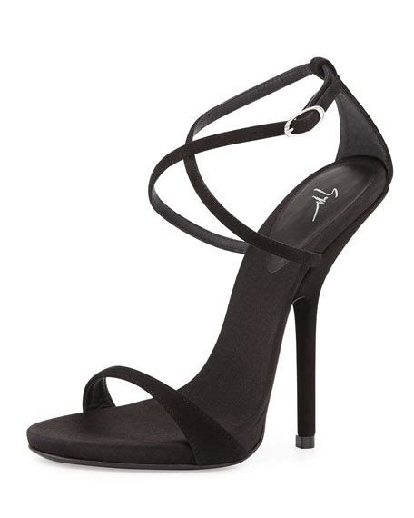 strappy black sandals high heels giuseppe zanotti strappy crisscross high heel sandal black