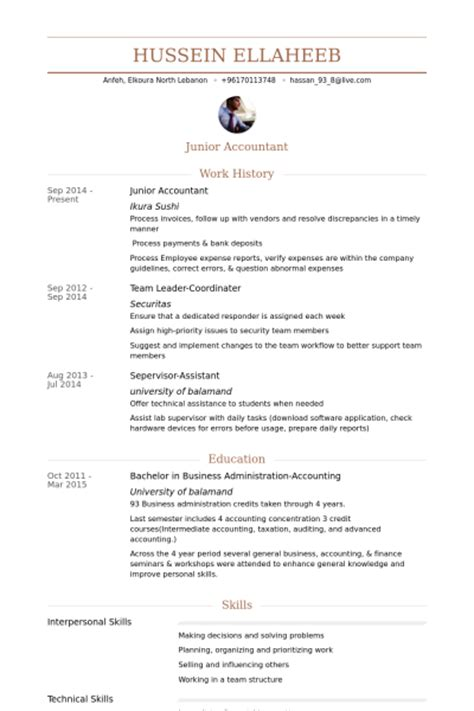 junior accountant resume sles visualcv resume sles database