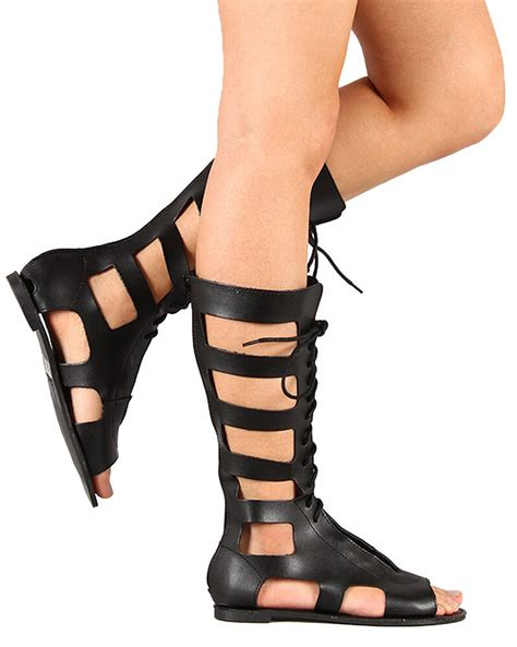 qupid athena 741 new cut out lace up gladiator knee high flat sandal ebay