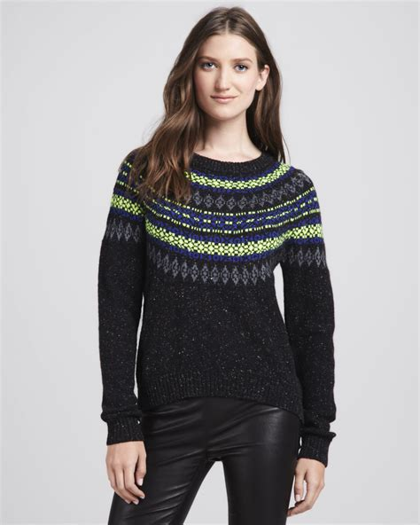 Sweater Crooks Dennizzy Clothing 1 milly speckled fair isle sweater in black lyst