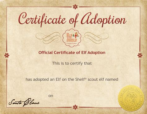 printable elf on the shelf certificate search results for elf on shelf adoption certificate