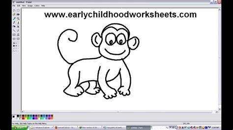 How To Draw Cartoons Monkey Easy Step By Step For Kindergarten Youtube Drawing Pictures For Kindergarten