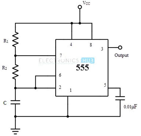 circuit diagram of astable multivibrator astable multivibrator using 555 timer