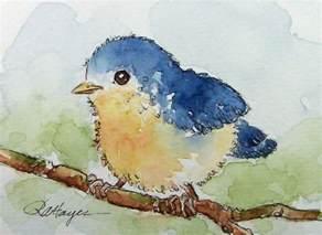 watercolor paintings by roseann hayes baby bird