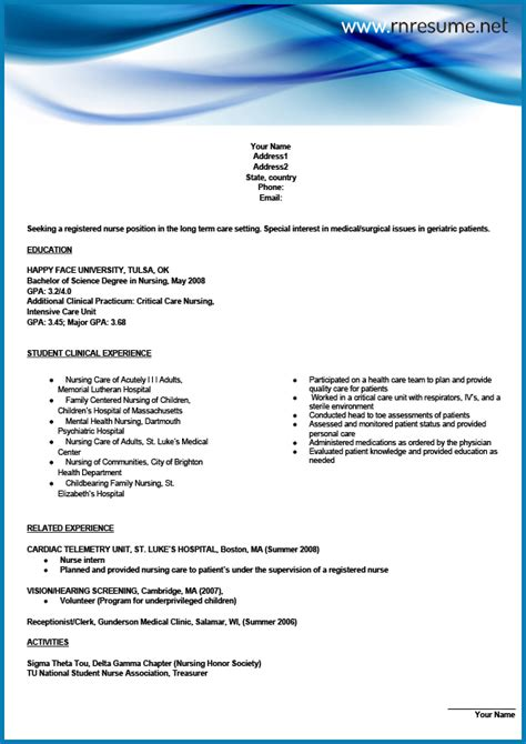 New Grad Rn Resume Template by Professional New Grad Rn Resume Sle