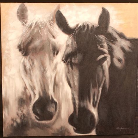l black oil paint horse painting black and white