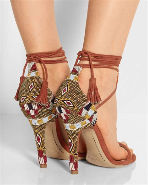 beaded heels etro beaded suede sandals shoes post