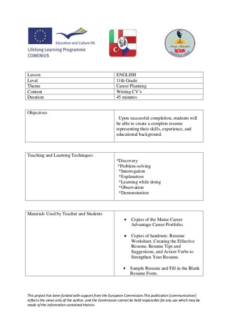 home and careers lesson plans how to write a cv lesson plan turkey