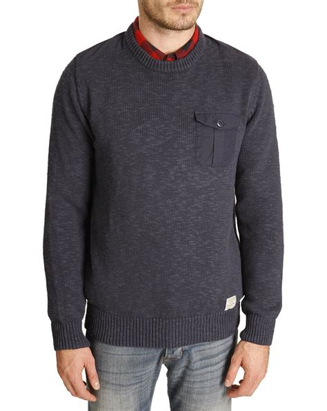 Sweater Wrangler Wrangler Navy Sweater With Patches In Blue For