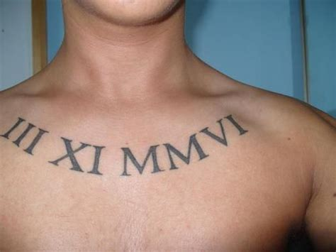 numeral numbers tattoo 14 numerals tattoos on chest