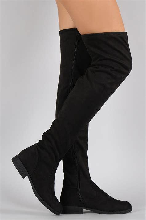 bamboo vegan suede flat thigh high boots urbanog