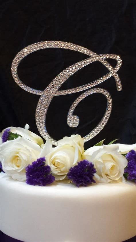 "6"" Tall Initial Monogram Wedding Cake Topper Swarovski"