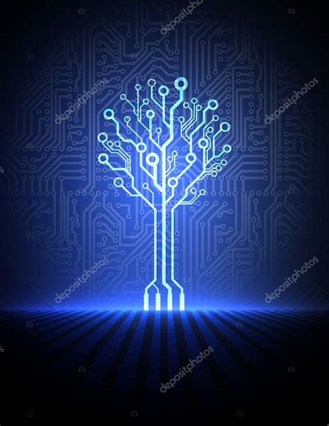 electronic tree vector circuit board background with electronic tree