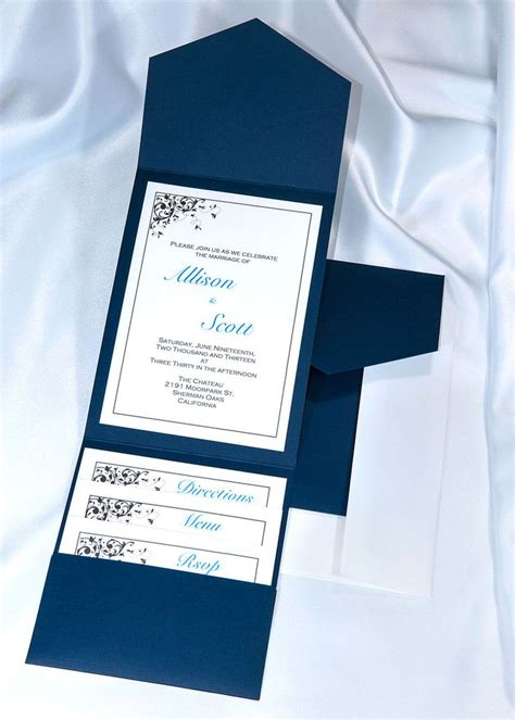 printable pocket wedding invitation kits print your own navy blue wedding invitations with our diy