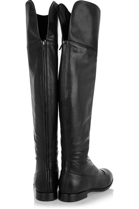 the knee leather boots jil sander navy leather the knee boots in black lyst