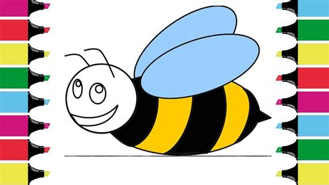 bee color coloring for children honeybee how to draw drawing and