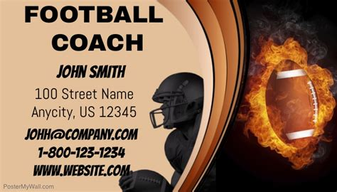 Football Business Card Templates by Football Coach Business Card Template Postermywall