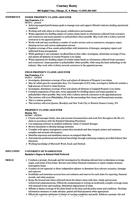sle resume for insurance claims adjuster resume sle 28 images cover letter