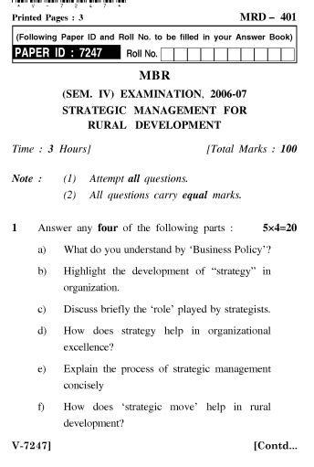 Mba In Strategic Management In India by Uptu Mba Strategic Management For Rural Development 2006