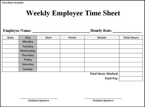 Simple Weekly Timesheet Template by Simple Weekly Timesheet Template Listmachinepro