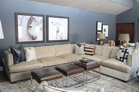 beige couch with gray walls grey walls beige velvet sectional trio of brown leather