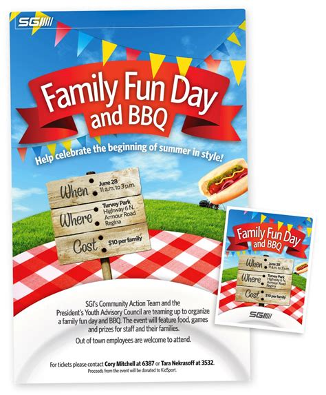 family fun day bbq poster and ticket graphically enthused