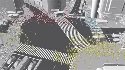 computer simulation shows  people walking