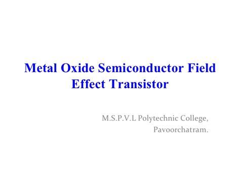 transistor mosfet slideshare mosfet