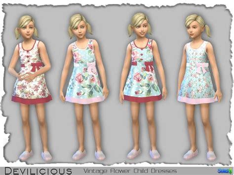 devilicious vintage flower dresses   girls sims  cc kids clothing  girl