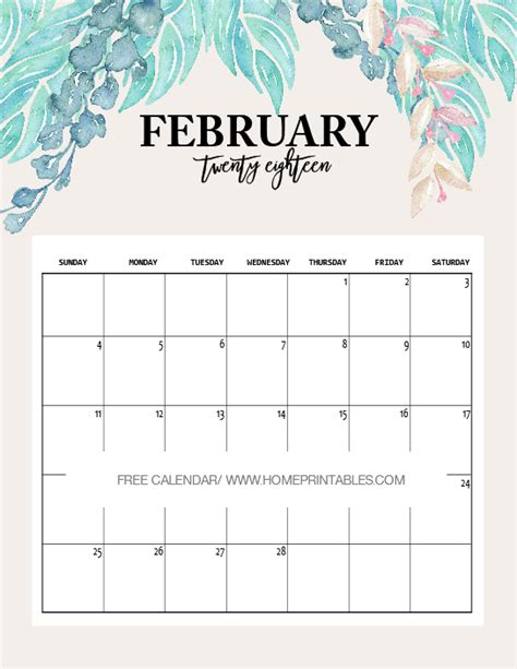 2018 February Calendar February 2018 Calendar Printable 10 Free Choices Home