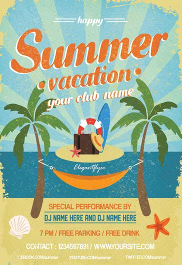 summer vacation flyer psd template facebook cover by
