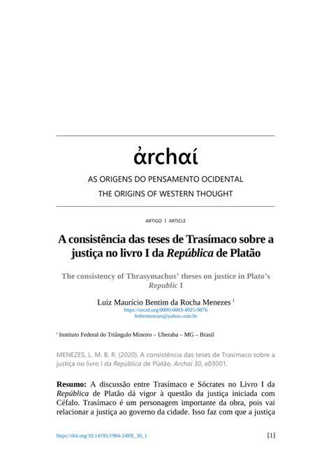 (PDF) A consistência das teses de Trasímaco sobre a