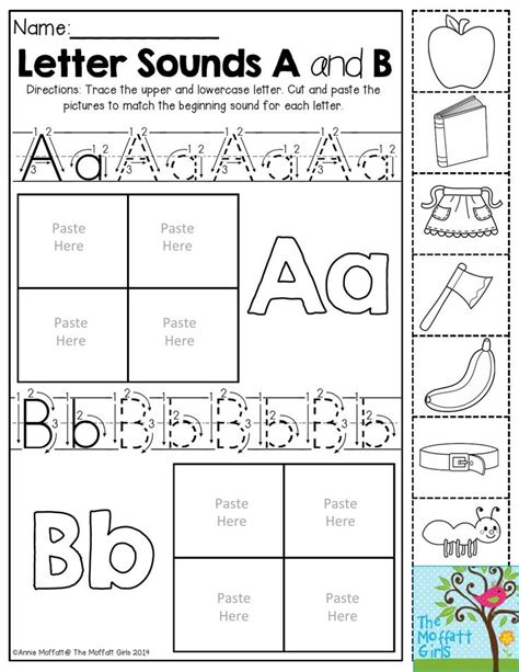 preschool alphabet activities letter sounds trace the letters then cut and paste the