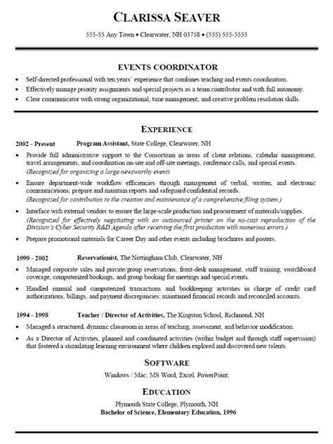 resume sample for events coordinator teacher