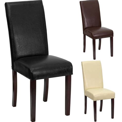 Leather Parsons Dining Room Chairs by Best Premium Leather Wood Parsons Dining Room Table Chair Restaurant Luxury New Ebay