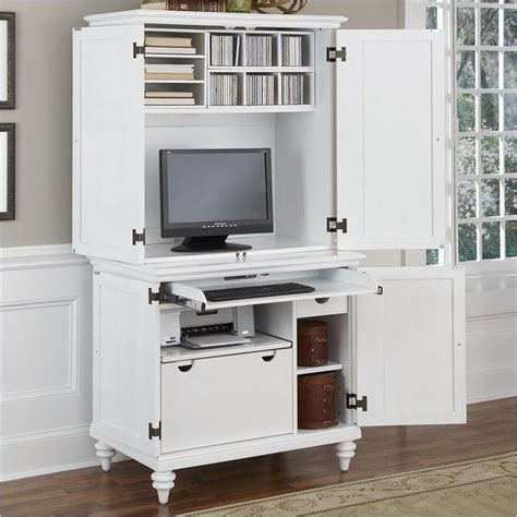 white computer armoire desk features