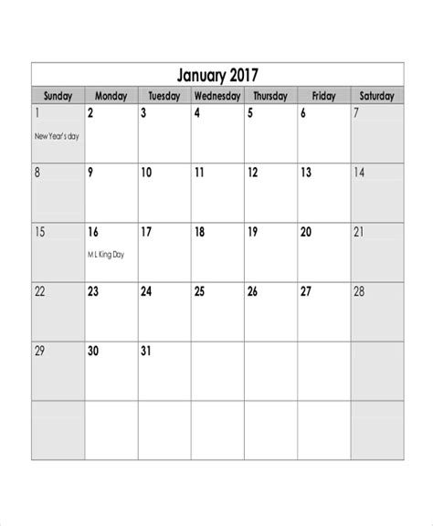 monthly calendar printable examples word