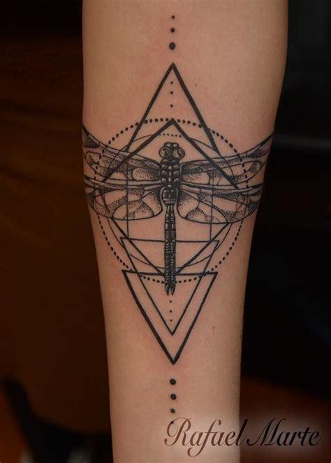 tattoo geometric dragon dragonfly within geometric pattern by rafael marte tattoos