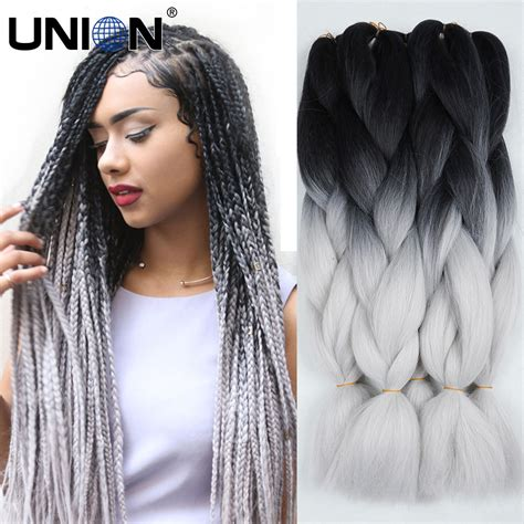 kanekolan hair black white grey aliexpress com buy ombre kanekalon braiding hair two