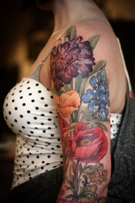 floral half sleeve tattoos tattoos half sleeve color poppies with