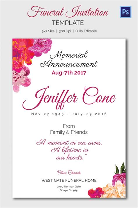 Card Invitation Ideas Celebration Memorial Service Invitation Cards In Impressive Announcements Celebration Of Cards Templates Free