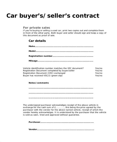 9 Sle Purchase Agreement Forms Sle Exle Format Vehicle Buy Sell Agreement Template