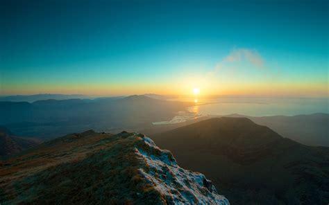 landscape mountain sunrise lake horizon wallpapers hd